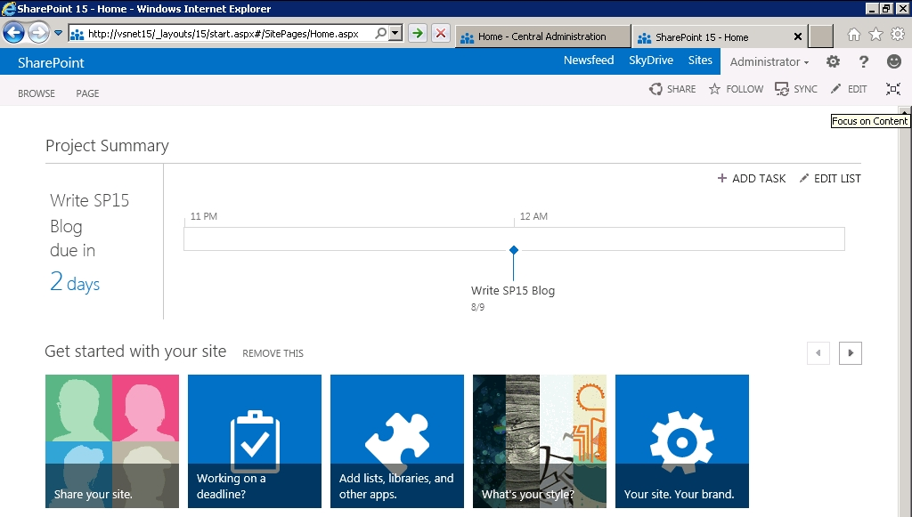 SharePoint 15 Home Page : Content Focused