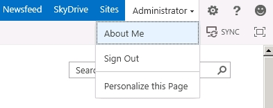 SharePoint 15 User Menu