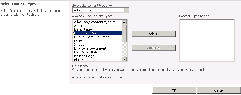 Add Document Sets Content Type