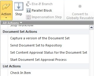 Document Sets Workflow Actions
