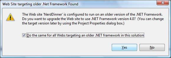 Confirm Target Framework Upgrade