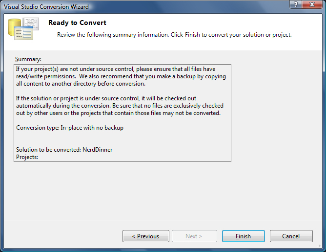 Reading To Convert Solution to VS2010