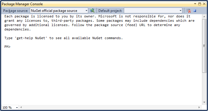 The Package Manager Console Lets You Type in Commands