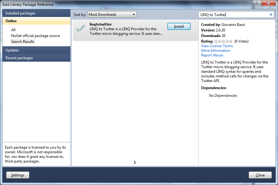 The Add Library Package Reference Window Lets You Add NuGet Packages Graphically