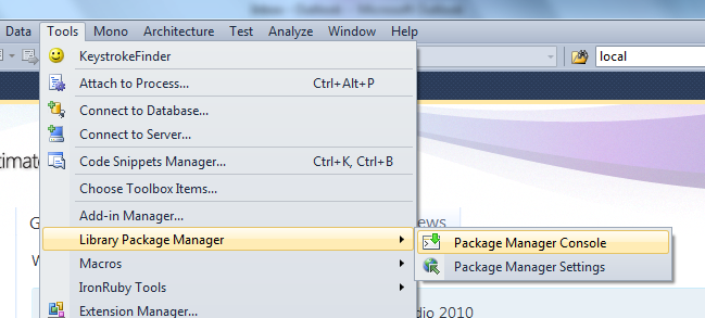 NuGet Installs the Library Package Manager Menu, Under Tools
