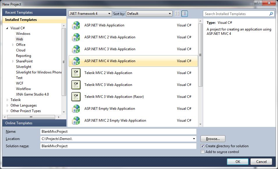 Custom Blank ASP.NET MVC Project Template