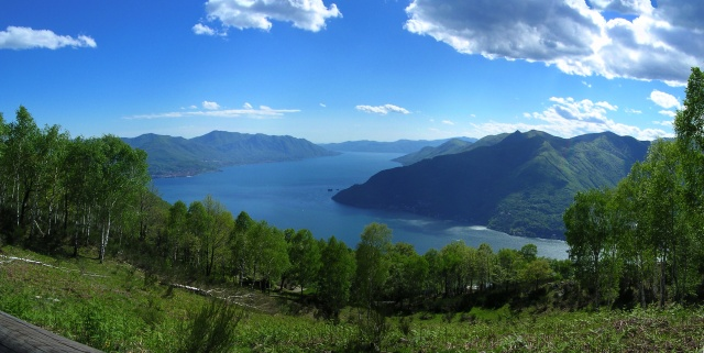 Lake Maggiore seen from the small village of Armio, Italy