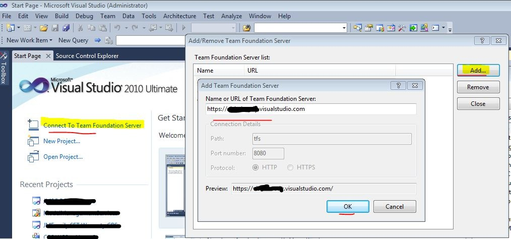 Connect Team Foundation Service/TFS 2012 with Visual Studio