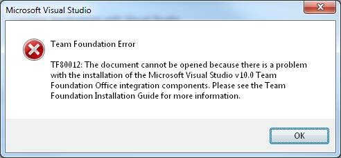 Integration with Office from Team Explorer stopped working