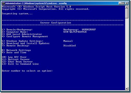 Setup a Windows Server 2008 R2 Server Core system for Hyper-V