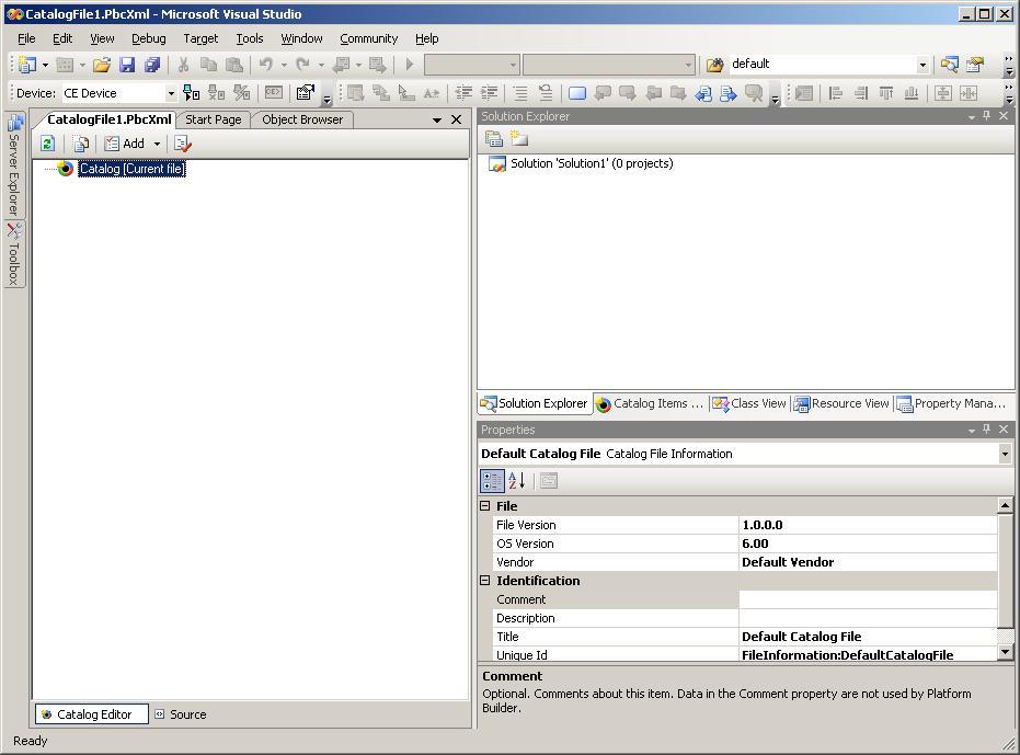 Platform Builder 6 0: Creating a Catalog File