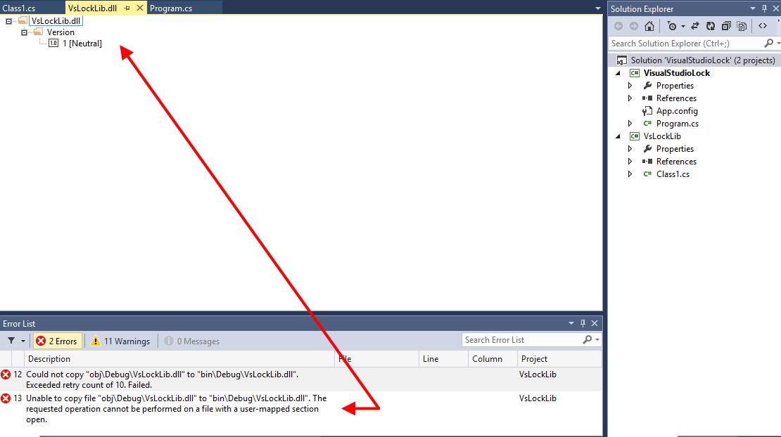 Visual Studio: Could not copy