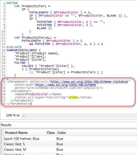 DAX Studio Parameters Dialog