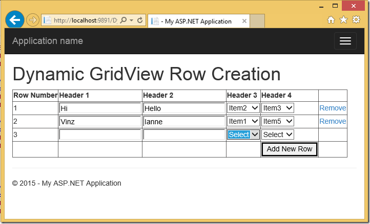 Dynamically Adding and Deleting Rows in GridView and