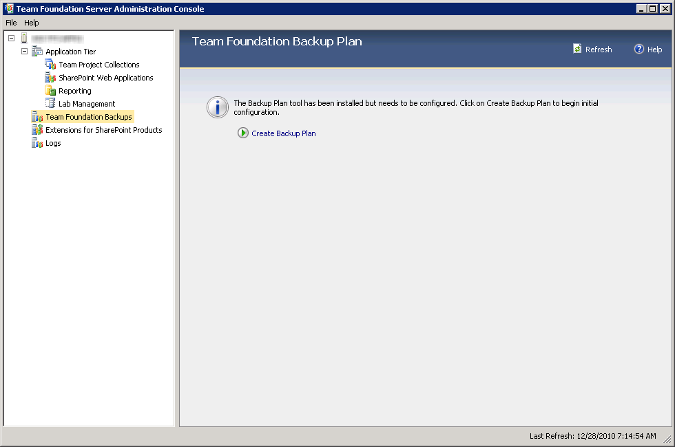 TFS Backup Plan Wizard Tool