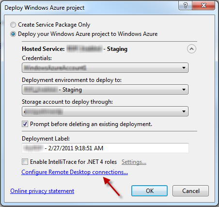 How to enable and connect to RDP on a Windows Azure Web Role