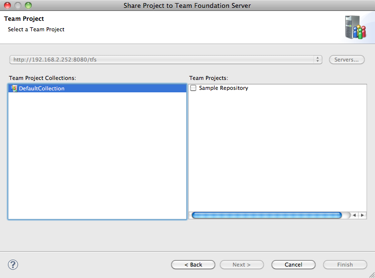 Adding a Java project in Eclipse to TFS using Team Explorer