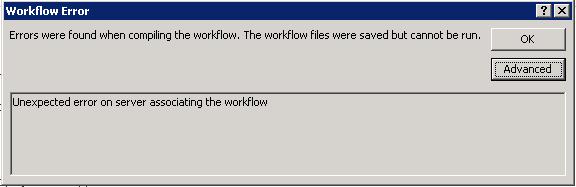 Resolving SharePoint Workflow Publish Error