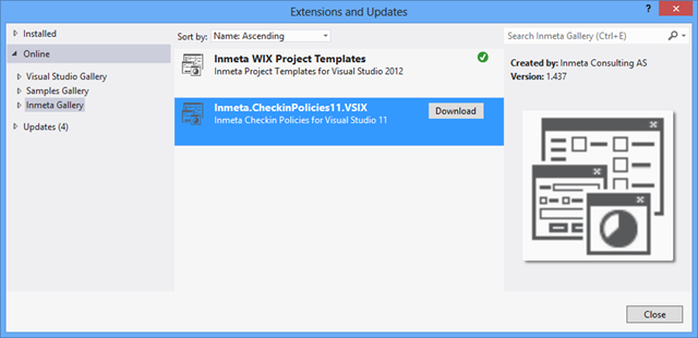 Using private extension galleries in visual studio 2012 for Can i download wix templates