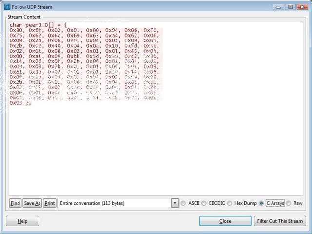 View WireShark Payload Data as Byte Arrays