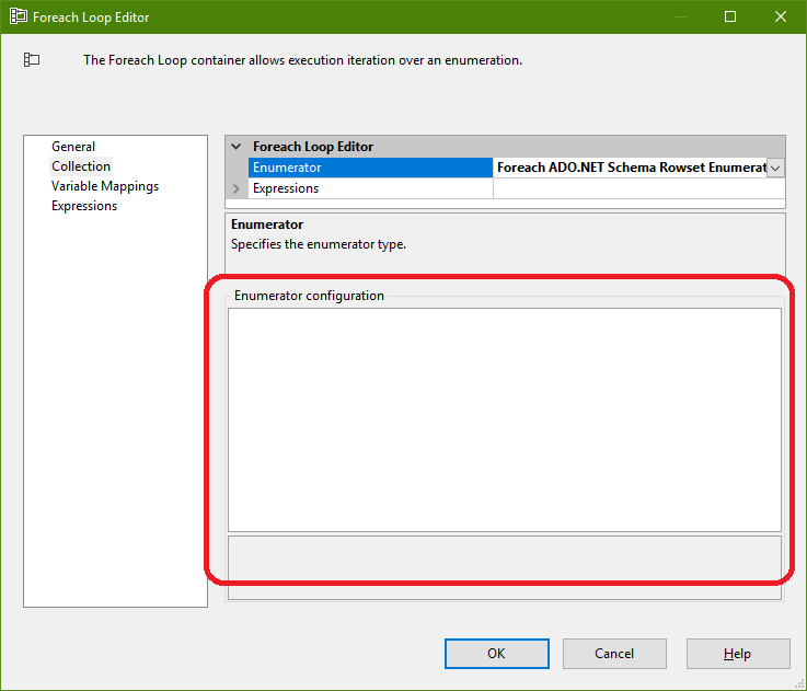 SSIS project foreach loop editor does not show configuration for ADO