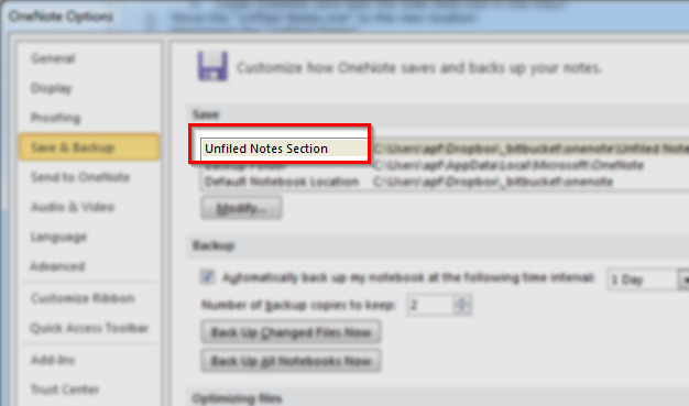 OneNote: Change location of Unfiled Notes