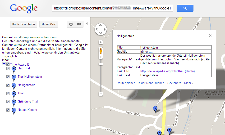 Showing own KML files in Google Maps via assistance of Dropbox