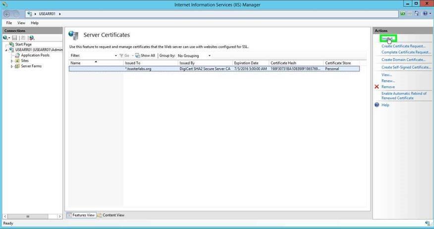 IIS ARR: Installing the reverse proxy server