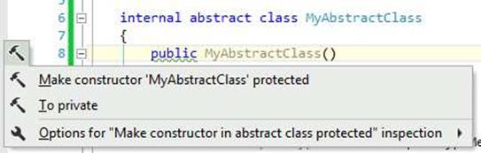 ReSharper Non-Protected Abstract Class Constructor Warning