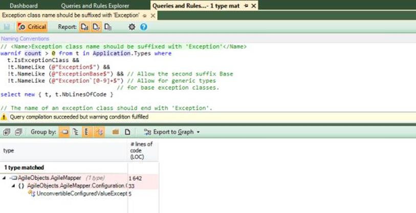 NDepend Exception query edit 1