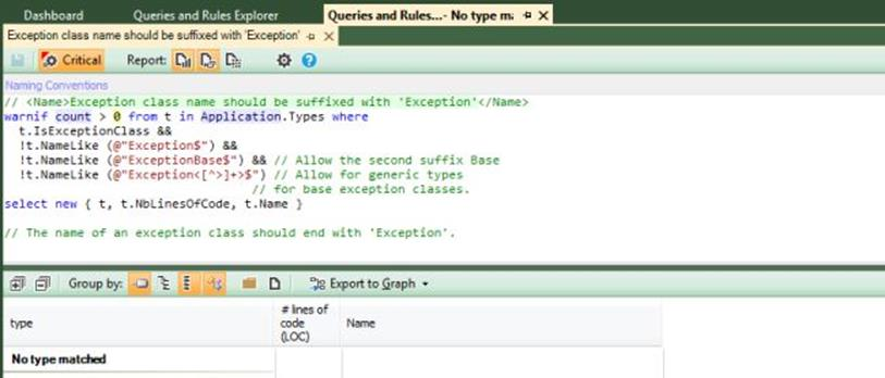 NDepend Exception query edit 3
