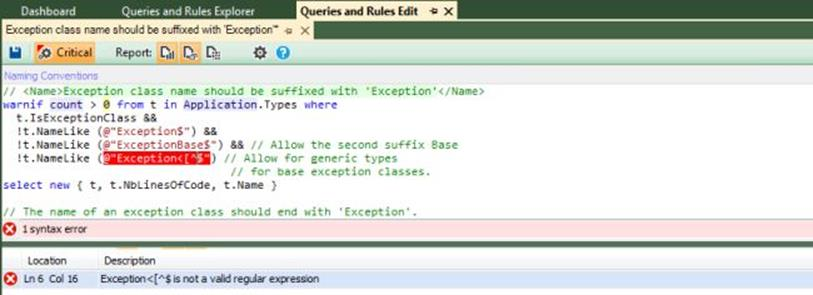 NDepend query editor error