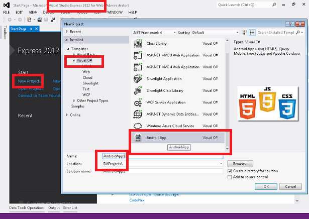 Android App Development in HTML5 using Visual Studio 2012 Express for