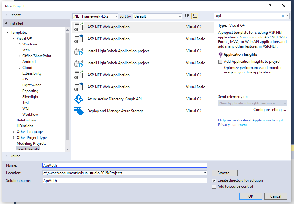 Azure ad securing your api with zero code codeproject next select the webapi option notice that ive chosen no authentication on the right hand side of the dialog malvernweather Images