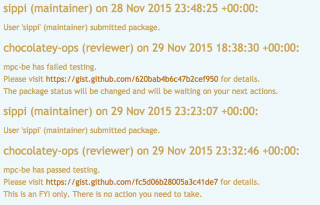 package review logging
