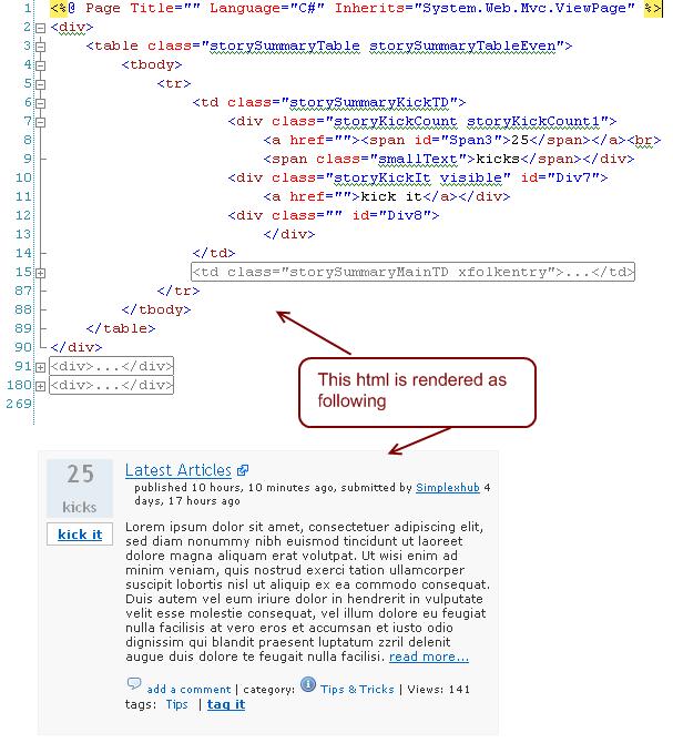 ASP.NET, ASP.NET MVC Tips: JSON Handler, Aspx Template