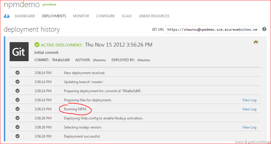 Install NPM Packages Automatically for Node js on Windows Azure Web Site