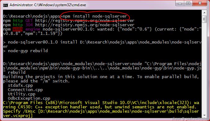 Node js Adventure - Node js with SQL Server