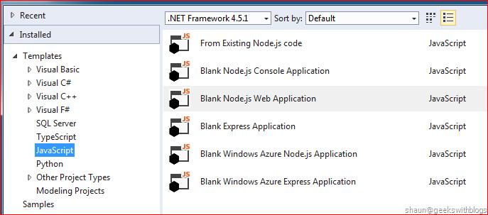 Node js Tool for Visual Studio