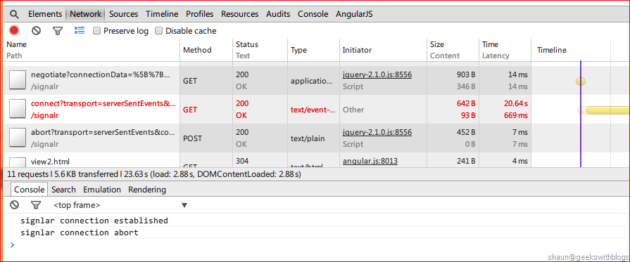 SignalR Auto Disconnect when Page Changed in AngularJS