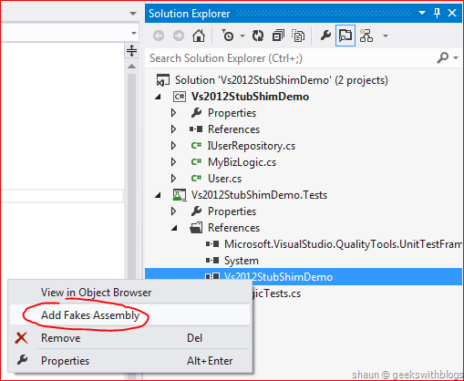Stub and Shim in Visual Studio 2012 Unit Test