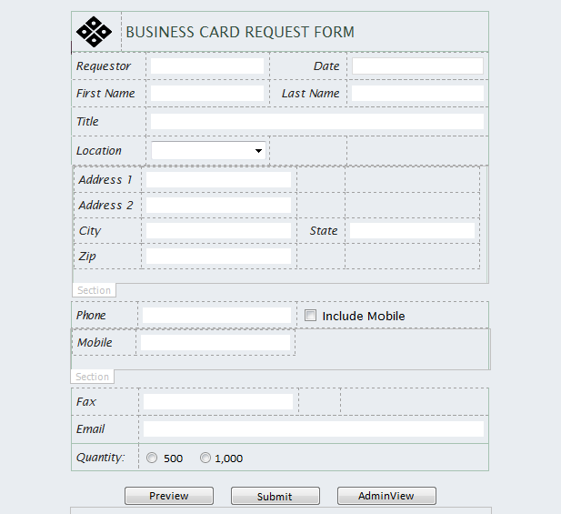 Creating the business card request infopath form for Sharepoint requirements template