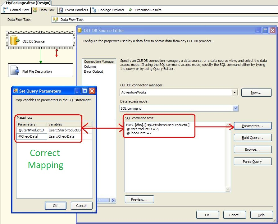 Mapping Stored Procedure Parameters in SSIS OLE DB Source Editor