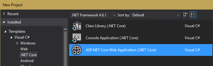Create New ASP.NET Core Web Application (.NET Core)
