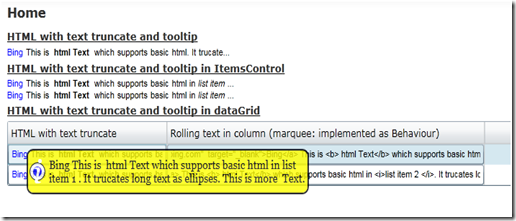 HTML text in Silverlight controls with ellipses, tooltip and rollover