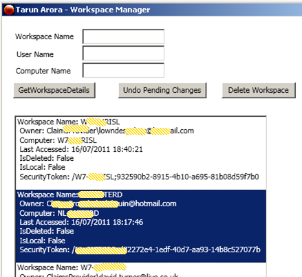 TFS 2010 SDK: Get List of user Workspaces and checked out