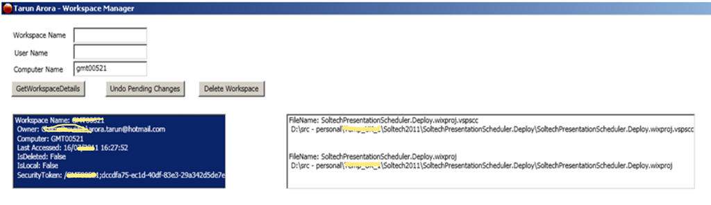 TFS 2010 SDK: Get List of user Workspaces and checked out files