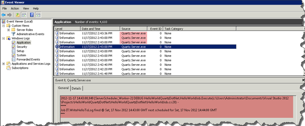 Quartz Net Windows Service Configure Logging