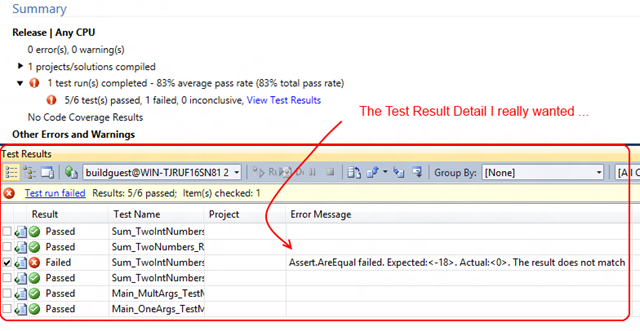 Get Detailed Build Test Results using the TFS API