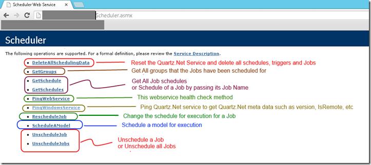 Quartz Net scheduler exposed via a Web Service